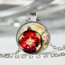 Red Christmas Ball Tibet silver Dome Glass Cabochon Necklace chain Pendant