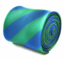 Frederick Thomas royal blue and green barber striped mens tie FT1910  RRP£19.99