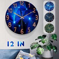 12in Wall Clock Glass Quartz Quiet Plexiglass Universe Space Silent Living Room