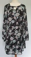 Jeanswest Size 12 Casual Black Floral Long Sleeve Waist Tie A-Line Shift Dress