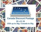 Canada Discount Postage. Cheap Stamps for your Letter Mail. 50 x $1.30.