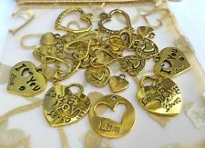 25 x Large Mix  Antiqued Gold Heart charms Mix 11-25mm