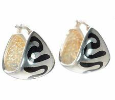 Menegatti Solid 925 Sterling Silver Black Enamel Hoop Earrings '