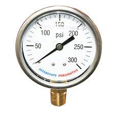 "Oil Filled Pressure Gauge 300 PSI  2-1/2"" Dial 1/4"" NPT Bottom Mount - G7022-300"