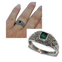 Bague chevalière universitaire argent massif 925 agate verte T 54 56 60 bijou