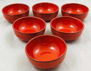Melitta Ceracron Germany - 6 x burnt red individual dip / sauce bowls NEW 9cm