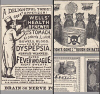 Rough on Toothache RARE Poison Rat Itch Hair Oil Nerve Fever Impotence Cure Card