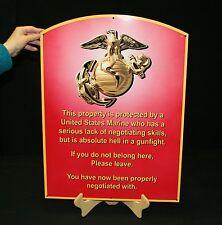 USMC ENLISTED METAL SIGN SEMPER FI  WARNING SIGN (MCENNT 24X18) - PhotoSTEEL
