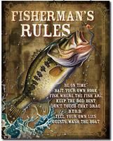 Fisherman's rules Metal tin sign bait tackle fishing home Wall decor new