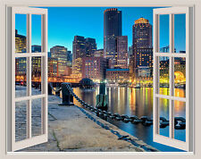 Boston Skyline Night Window View Repositionable Color Wall Sticker Wall Mural