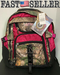Genuine Realtree 3 Section Laptop Backpack, Xtra Raspberry, Camo Pink Backpack