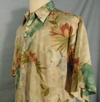 Tori Richard Hawaiian Shirt Mens M Button Up Floral Made In Hawaii Rayon Beige