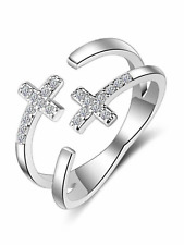 925 silver CZ cross religious expand adjustable ring jewellery present gift