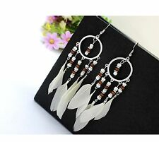 1 Long Bohemian Pair of Feather Dangle Earrings with Beads - White # 446