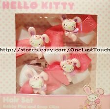 HELLO KITTY by SANRIO 4pc Hair Set~BOBBY PINS+SNAP CLIPS Bunny Suit EASTER New