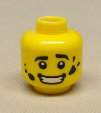 x1 New Lego Minifig Head with Black Eyebrows, White Pupils and Dirt Stains