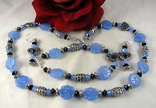 Blue Chalcedony Flower 3pc Necklace Set CAT RESCUE