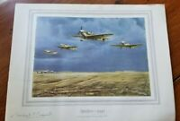 Vintage print Spitfire 1940 signed Michael C. Maxwell (Captain Norman Hoad AFC)