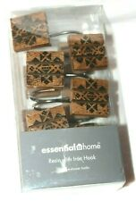 Essential Home Sequoia Wood Resin w/ Iron Hook Shower Curtain Hooks