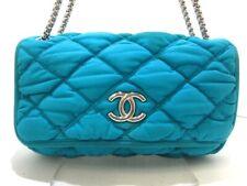 Auth CHANEL Bubble Quilt A46163 Blue Chemical Fiber Shoulder Bag