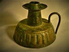 Fine Antique Arts & Crafts Candlestick Chamber Stick Copper Hammered Handstamped
