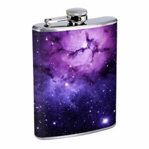 Purple Galaxy Em2 Flask 8oz Stainless Steel Hip Drinking Whiskey