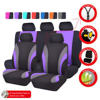 Universal Car Seat Covers Black Purple Fit Truck SUV Honda Nissan Ford Toyota VW