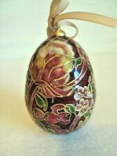 "Beautiful Vintage Cloisonne Egg Burgundy Rose Green Gold and White 4"" x 2.5"""