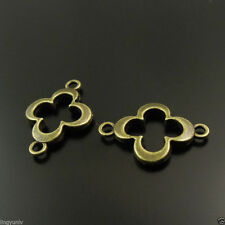 80pcs Vintage Bronze Tone Alloy Nice Flower Connector Charm Finding 38097
