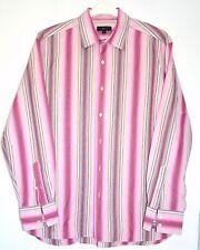"Men's Multi Pink Stripe Shirt Size L 17"" Collar Button Cuff Cotton Fabric Smart"