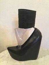 "Jeffrey Campbell ""Zeke"" Black Leather Buckled Ankle Cuff Platform Wedge US Sz 6M"