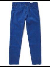 AMI REGULAR-FIT CORDUROY MEN'S TROUSERS 34x30 BLUE Cotton