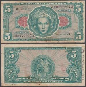 MPC Series 641, 5 Dollars, ND (1965), VF++ (stapleholes & graffiti), P-M62