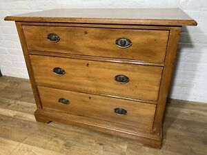 ANTIQUE SATIN WALNUT CHEST OF DRAWERS . DELIVERY AVAILABLE MOST AREAS