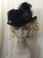 Women's Victorian Gothic Steampunk Wool Hat With Antique Lace Trim