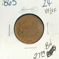 1865 TWO CENTS PIECE ~ VF/XF ~NICE COIN~