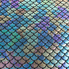 """Iridescent Scale Mermaid Fabric Hologram Spandex 2 Way Stretchy 60"""" Wide by Yard"""