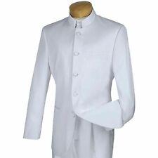 VINCI Men's White Banded Collar 5 Button Classic Fit Tuxedo Suit NEW