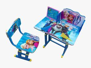 Cartoon Desk Stool Set Kids Children Home Study ELSA ANNA FROZEN Table Storage