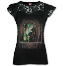 Spiral Direct ABSINTHE Womens Lace Layered Cap Sleeve Top, Cat, Fairy, Witchcat