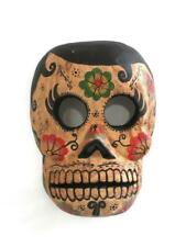 Wall Decor Hand Carved Wooden Cantrina Skull or Jaguar Painted Style Mask