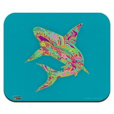 Mosaic Lily Shark Tropical Island Surf Low Profile Thin Mouse Pad Mousepad