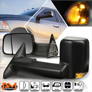 For 09-16 Dodge Ram 1500-5500 Powered+Heated Towing Mirror+Smoked LED Lamp Pair