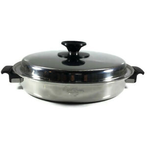 """Royal Queen Fry Pan 3 PLY 11"""" Stainless 2 Handle w/ Stainless Matching Lid Cover"""