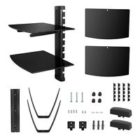 2 Tier Glass Shelf Wall Mount Bracket for DVD Players/Cable Boxes V02 US Seller