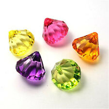 10pcs Mixed Colours Transparent Acrylic Faceted Drop Beads DIY 31x28mm hole:3mm