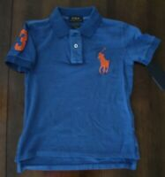 NWT Ralph Lauren Short Sleeve Solid Blue Big Pony Mesh Polo Shirt Sz 5 NEW $40