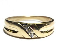 14k yellow gold .09ct SI2 H diamond 3-stone mens wedding band ring 4.3g gents