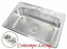 "33"" x 22"" x 9"" Deep Top Mount Drop In Stainless Steel Single Bowl Kitchen Sink"
