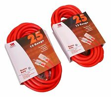 2-Pack 25-Ft 12 Gauge Extension Cord Lit End AWG UL NEW 12/3 Foot Feet